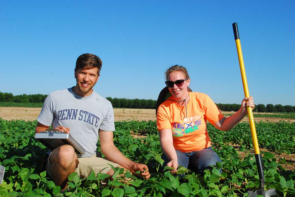 plant biology students in the field