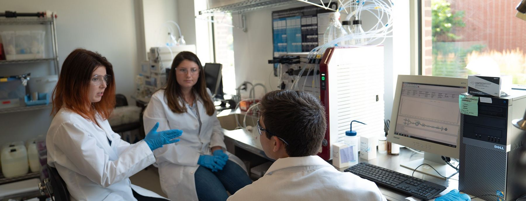 3 biotechnology graduate students collaborate in the lab