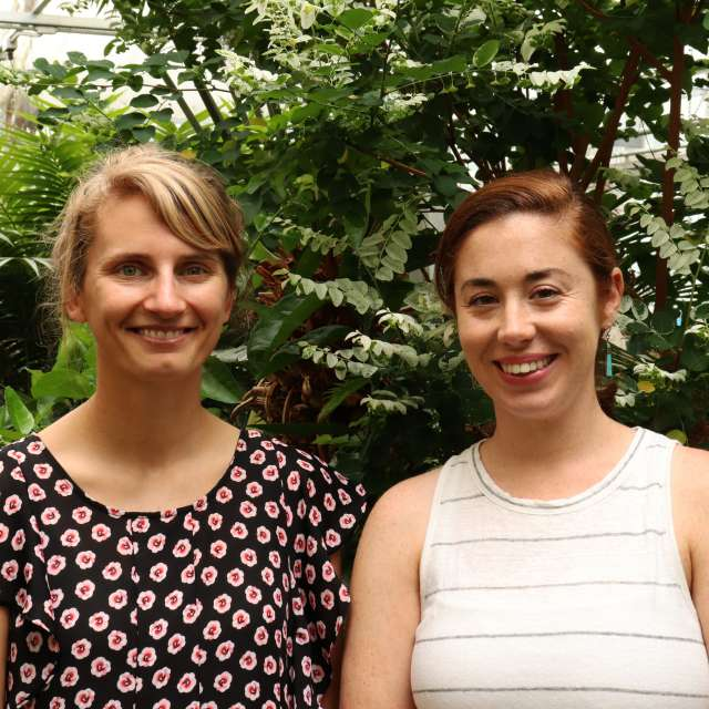 Graduate students Mara Cloutier, left, and Sarah Isbell, received AFRI Education and Workforce Development fellowships from the U.S. Department of Agriculture, National Institute of Food and Agriculture. IMAGE: PENN STATE