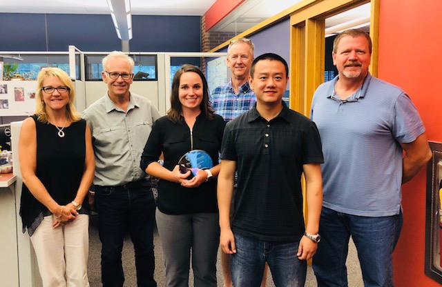 From L-R: Connie Rogers, Associate Director; Peter Hudson, Director; Kelly Ness, 2017-18 Graduate Adviser; Jim Marden, Director of Operations; Bruce Chen, 2018-19 Graduate Adviser; Troy Ott, Associate Director for Graduate Education
